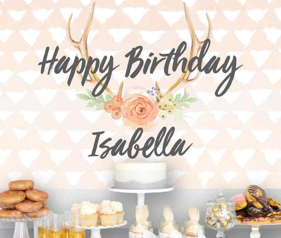birthday backdrop sign banner for party decor boho antler style
