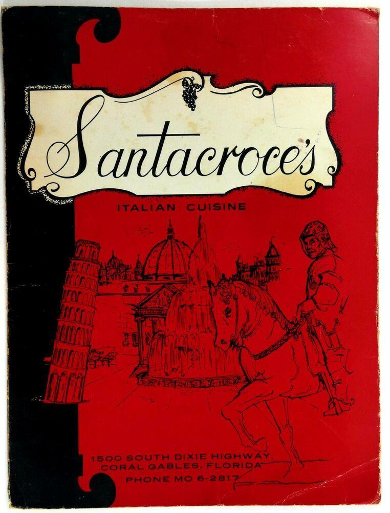 1970 Original Large Menu SANTACROCE'S Italian Restaurant