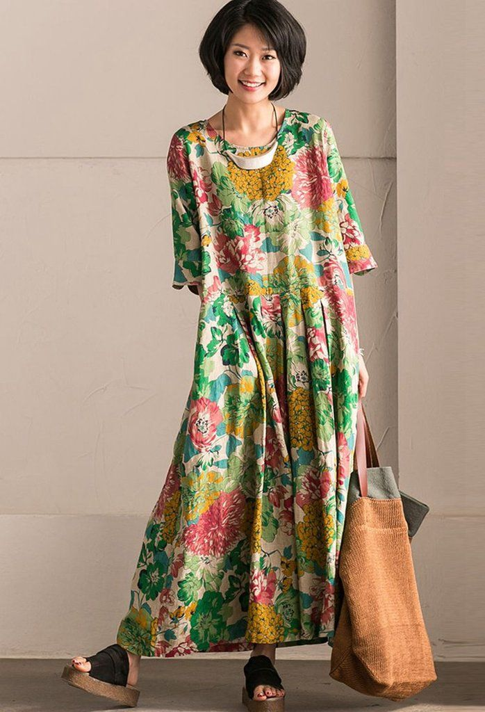 fantastic savings attractive & durable detailing Retro Cotton Linen Flower Long Dress Summer Women Clothes ...