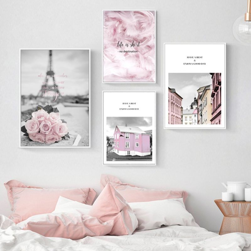 Pink Flower Posters Paris Tower Picture Nordic Canvas Painting For Living Room Girls Bedroom Wall Art Prints Fashion Home Decor Living Room Canvas Painting Bedroom Wall Art Living Room Canvas #wall #art #painting #for #living #room