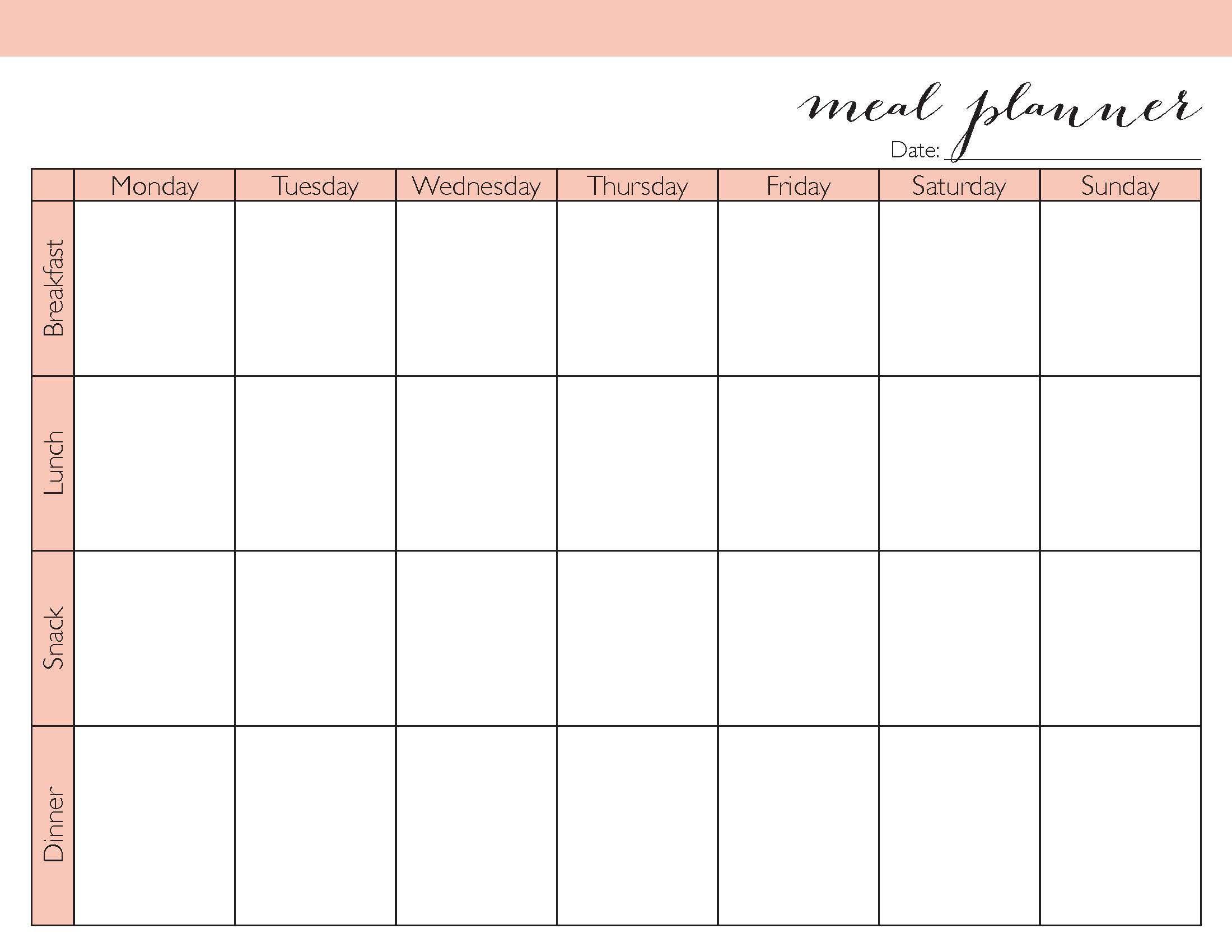 weight loss planning calendar