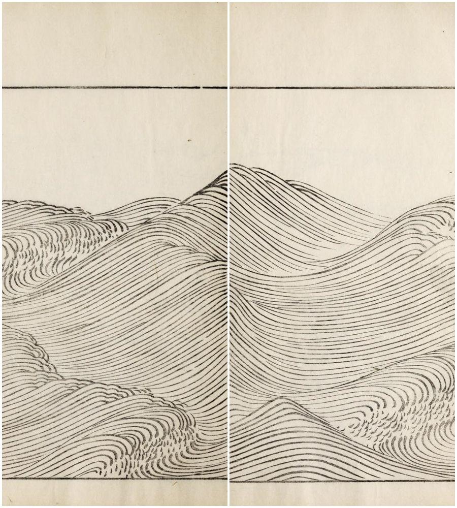 "Line Art Waves : Yama bato "" ha bun shu by yusan mori published here"