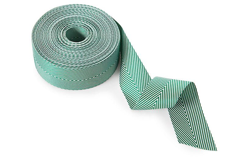 Turquoise Twill with Chevron Stripes May Arts 3//4-Inch Wide Ribbon