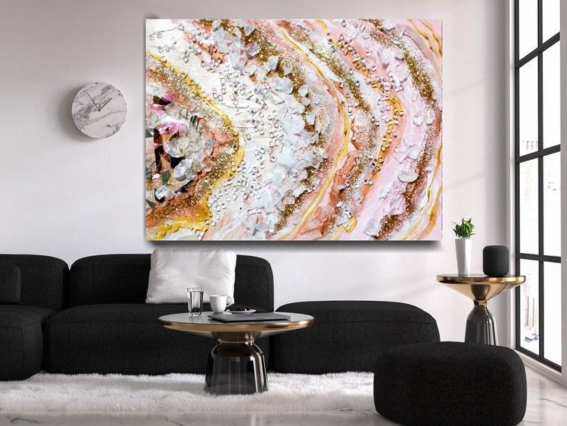 Blush Pink Agate Wall Decor Geode Art Glitter Abstract Etsy Art Artlife Artgallery Artlover Artfo Glitter Wall Art Agate Wall Decor Large Abstract Wall Art