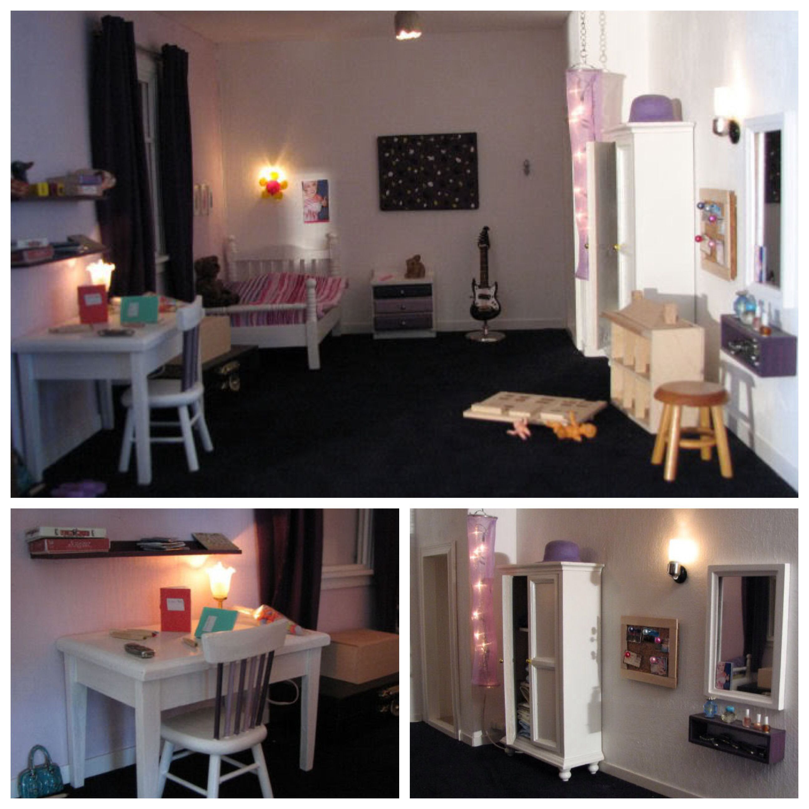 Kinderkamer poppenhuis, lampjes zijn zelfgemaakt. Emmy s dollhouse.