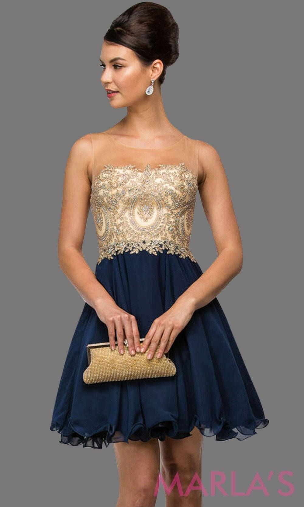 dea36fc82ce Short navy graduation dress with illusion beige bodice and flowy blue  chiffon skirt. Perfect for grade 8 grad
