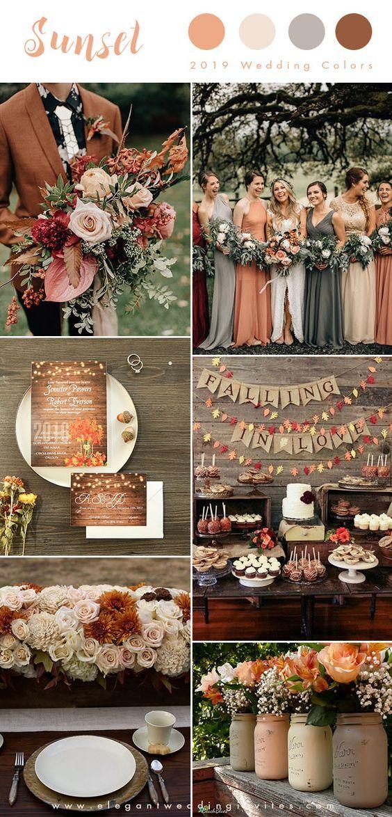 coucher de soleil orange, rougir et brun rouille tons de terre automne couleurs de mariage pour 2019   – Wedding