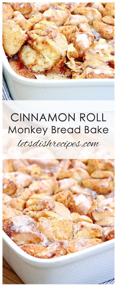 Cinnamon Roll Monkey Bread Bake Recipe: Prepared cinnamon roll dough makes this sweet breakfast casserole quick and easy to put together.
