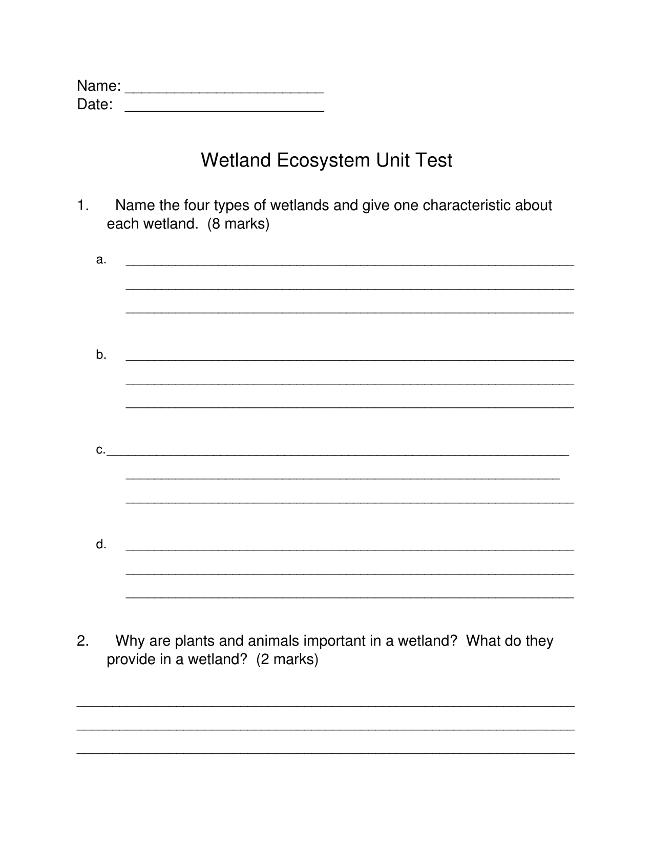 Wetlands Unit Test Resource Preview | Grade 5 Wetlands | The unit