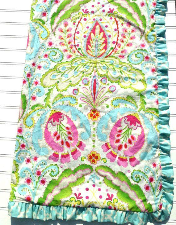 Minky Blanket In Kumari Garden Fabric With Ruffle Trim | Blanket And Nursery