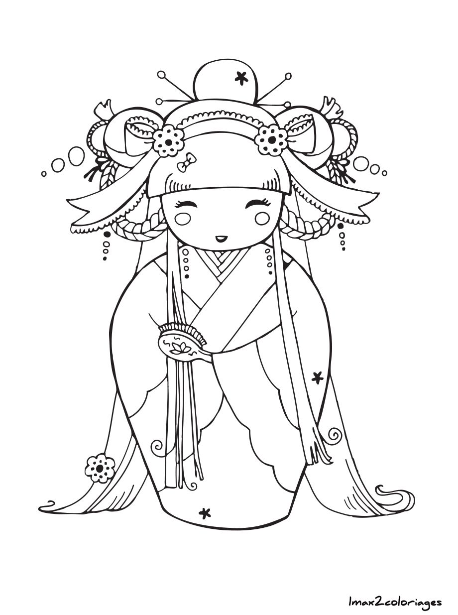 Coloriage poupee japonaise numero 9 asie mu ecas japonesas geisha et kokeshis - Coloriage numerote adulte ...