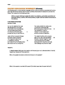 AP Poetry Analysis Worksheet -- To the Naked and the Nude (Graves)
