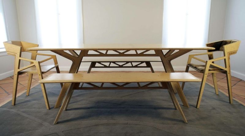 Esszimmer Mit Bank Minimalistisch Design Holz Originell Form Esstisch  Stuehle