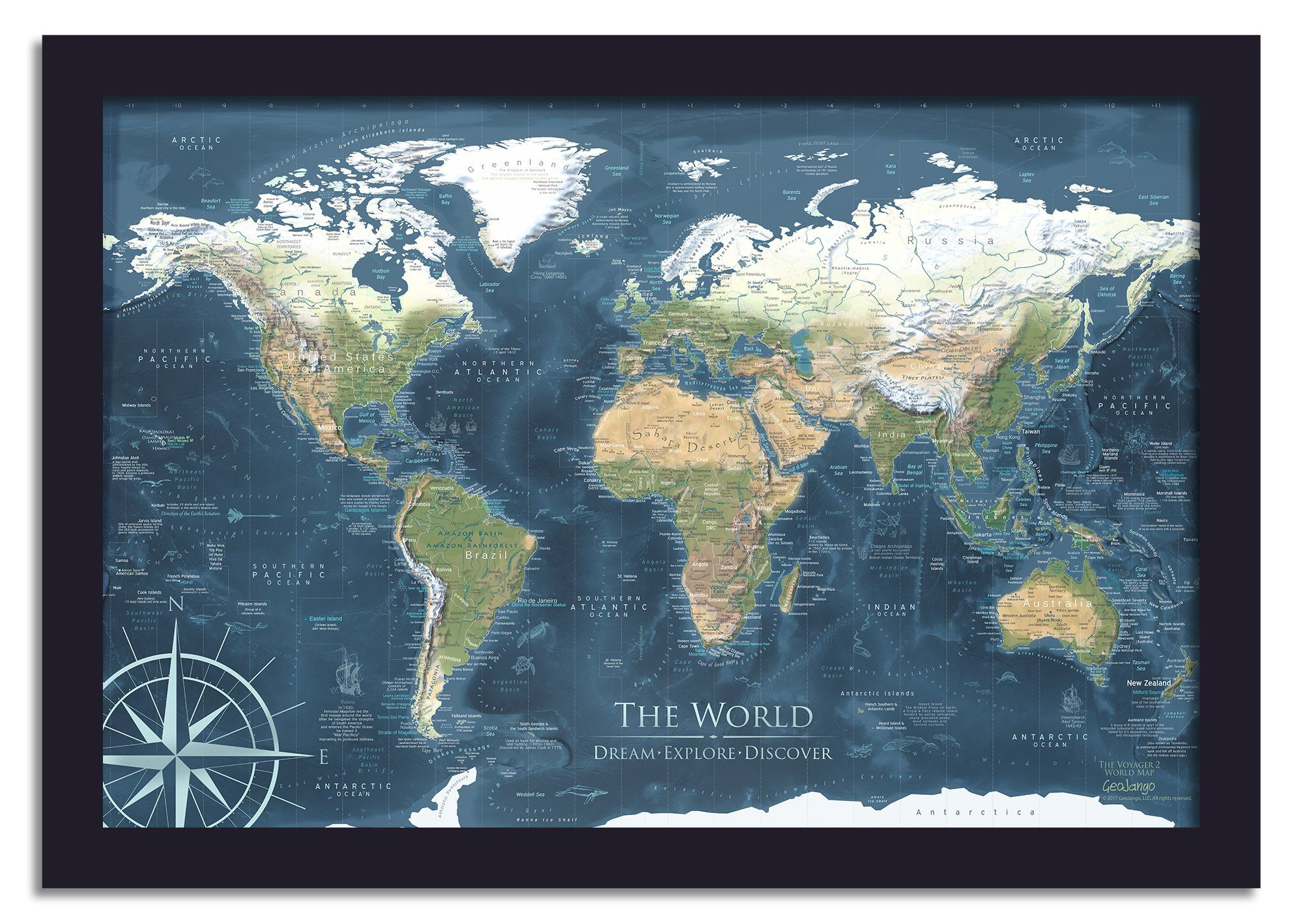 Zodiac Lunar Phases Framed World Map on