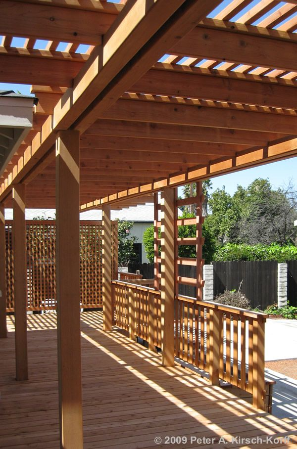 Redwood deck over concrete patio with arbor encino for Redwood deck plans