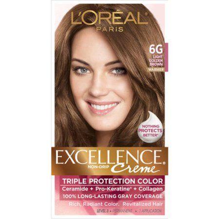 L Oreal Paris Excellence Creme Permanent Triple Protection Hair Color 6g Light Golden Brown 1 Kit Walmart Com Loreal Paris Loreal Hair Color