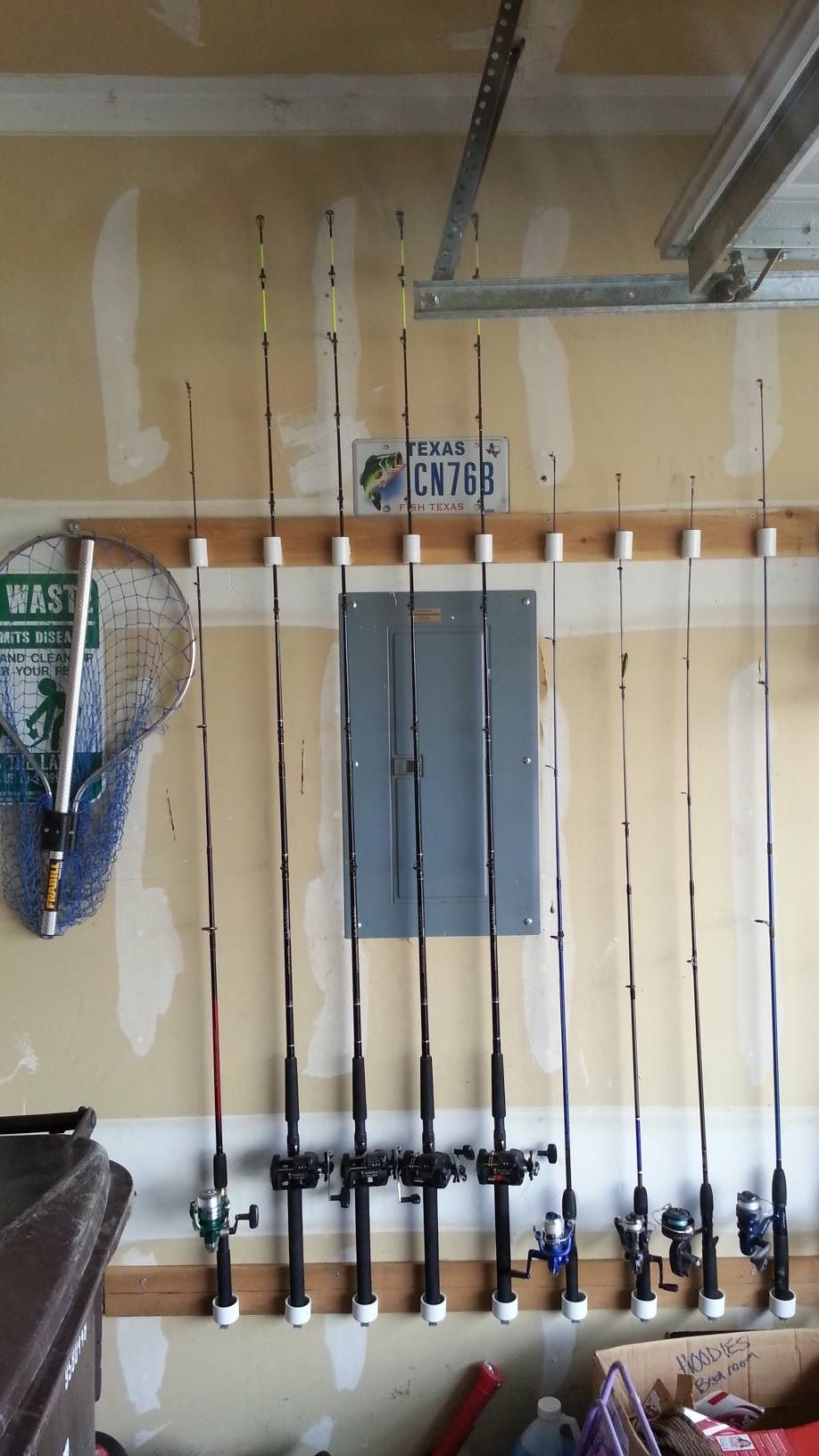My friend david reyes made this fishing pole holder for Diy fishing pole rack
