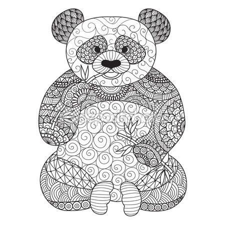 Mano dibujada zentangle panda para colorear libro para adultos ...