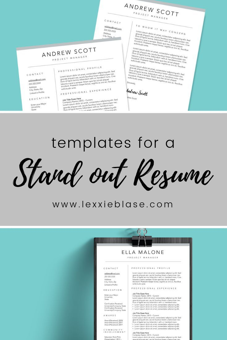 resume template bundle  cover letter and resume design