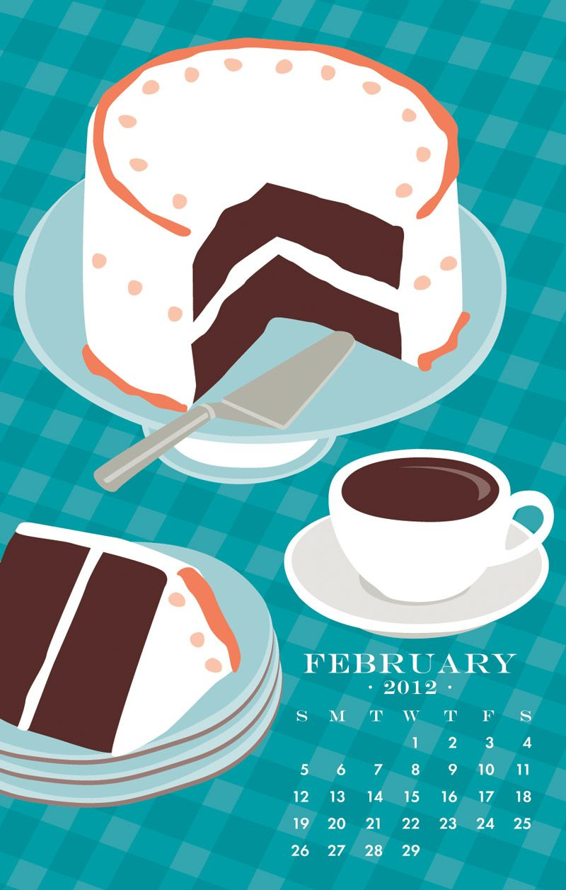 February 2020 Calendar Paper Source Coffee & Cake, Feb 2012 (Paper Source) | Illustration | Desk