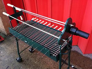 Greek Cypriot Style Charcoal Bbq Cyprus Motorised Rotisserie Barbeque Grill New
