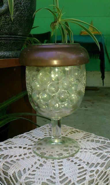 gardening solar lighting, gardening, lighting, outdoor living, repurposing upcycling, Wine Glass solar light