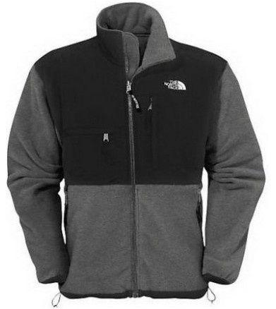 North Face Mens Denali Fleece Jacket Black Grey   North face