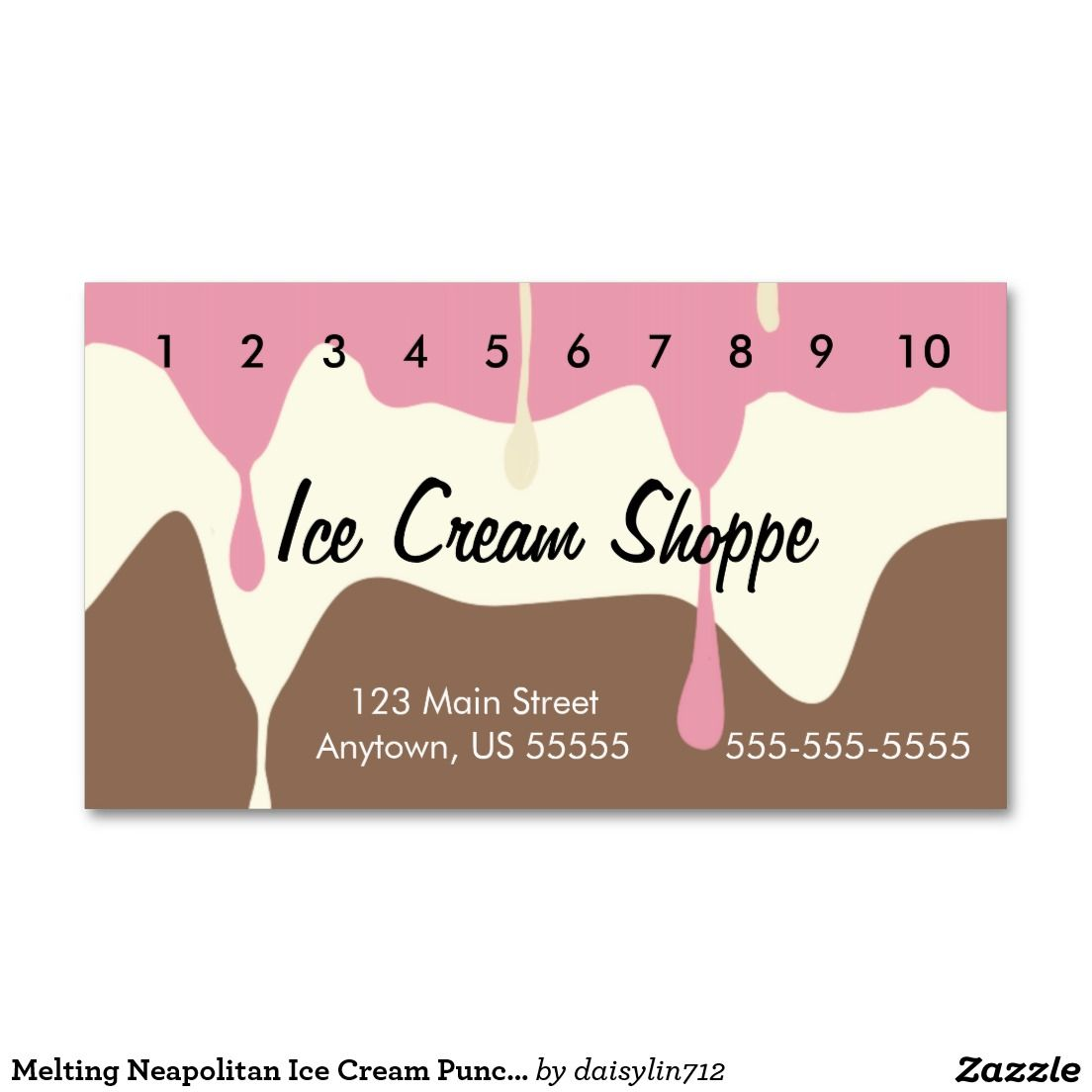 Melting Neapolitan Ice Cream Punch Card Double-Sided Standard ...