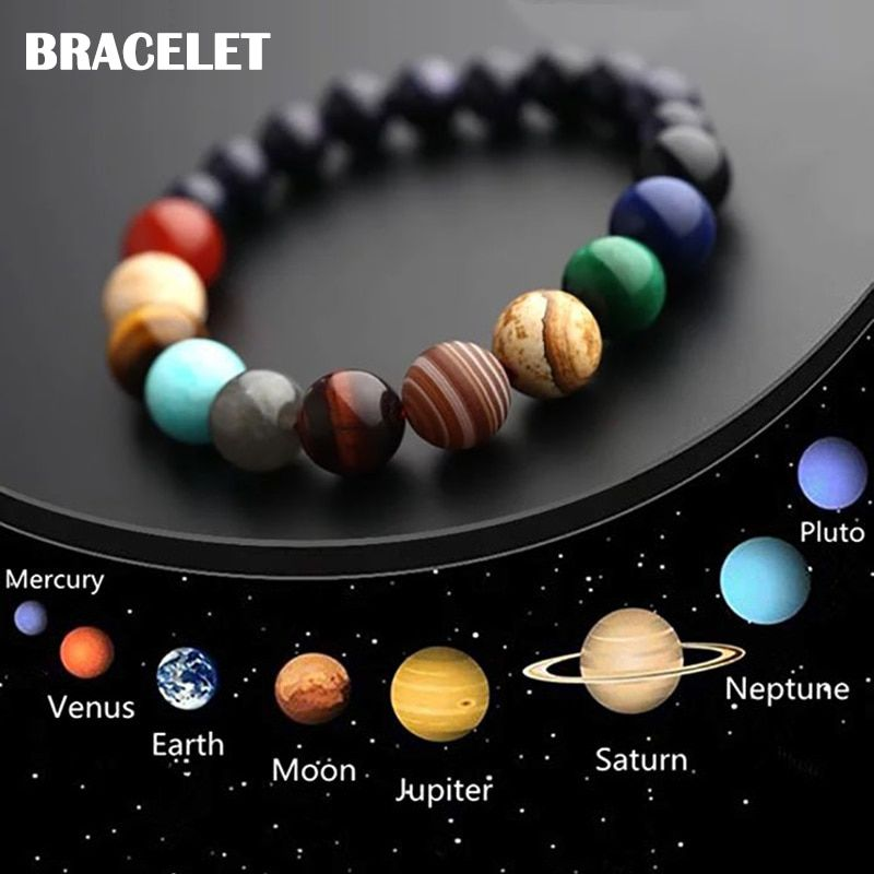 Pulsera sistema Solar System Bracelet Universo Piedra Natural Stone Earth Galaxy