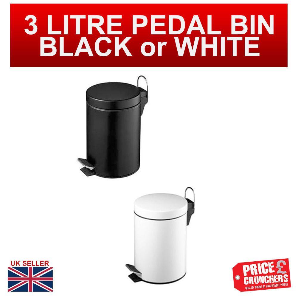 3 Litre Pedal Bin Steel Kitchen Bathroom Toilet Waste Bin Rubbish White Black Highlands Kitchens Bathrooms Kitchen Bin Black Steel