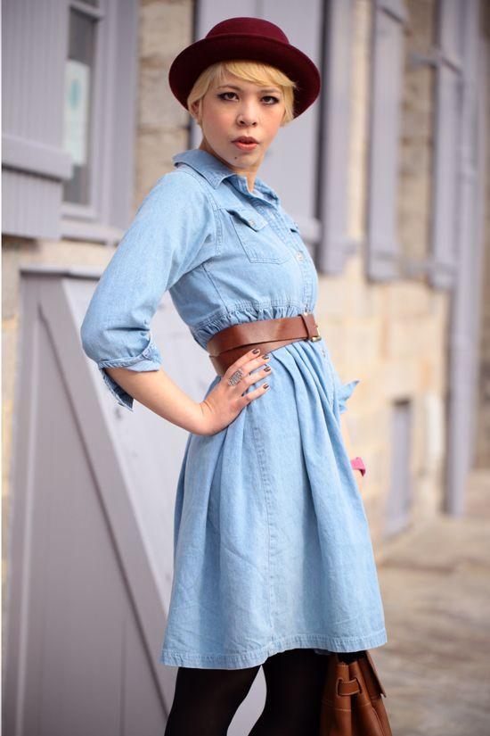 Light blue denim dress with brown belt, dark red hat and ...