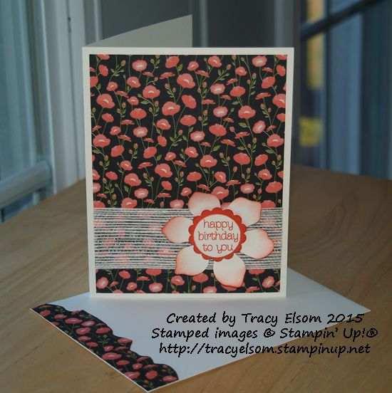 """Quick and easy birthday card using Pretty Petals 6""""x 6"""" DSP and 1-1/4"""" White Jute Ribbon from Stampin' Up!  http://tracyelsom.stampinup.net"""