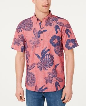 6d0eaf8e TOMMY BAHAMA MEN'S TATAU FRONDS REGULAR-FIT HAWAIIAN CHAMBRAY POPOVER SHIRT.  #tommybahama #cloth