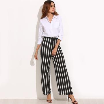 b375222a32 Pantalón ancho de cintura alta de rayas negras verticales ...
