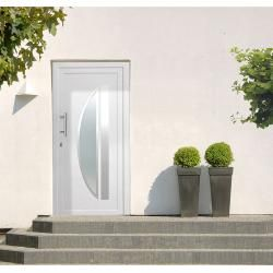 Photo of Solid Elements plastic entrance door K-403 (110 x 210 cm, Din hinges: left, white) solid Elements