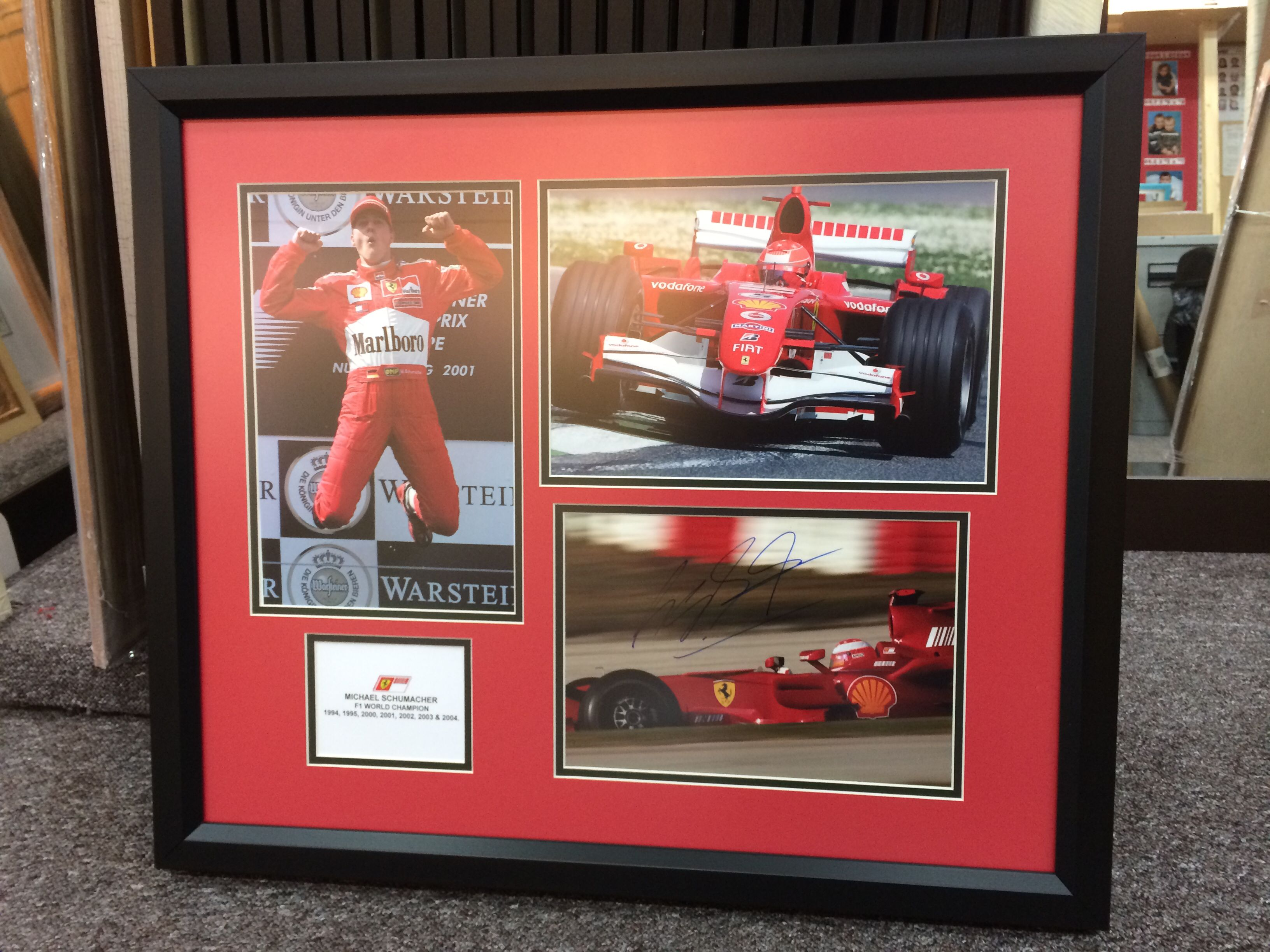 Framed michael Schumacher signed photos by Kwik picture framing ...