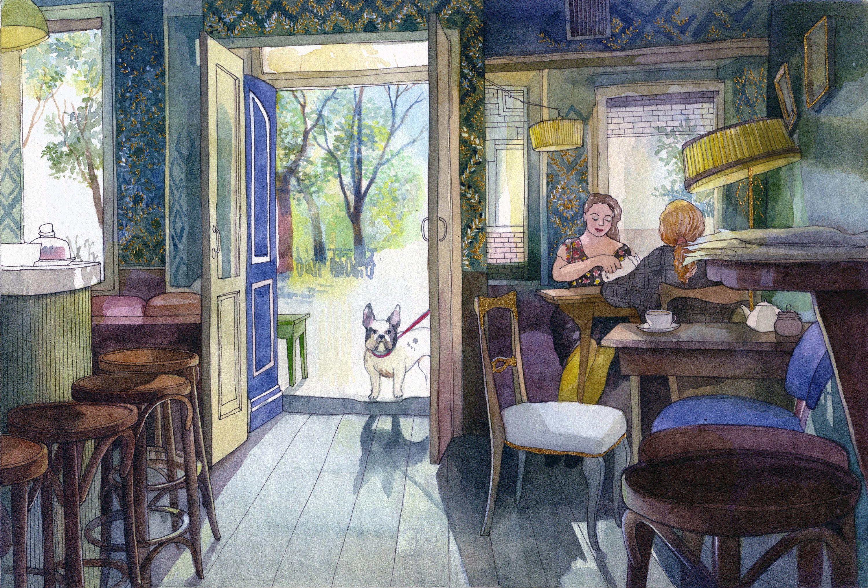 Cafe Brecht Poster (A3) Amsterdam art, Art, Wall art
