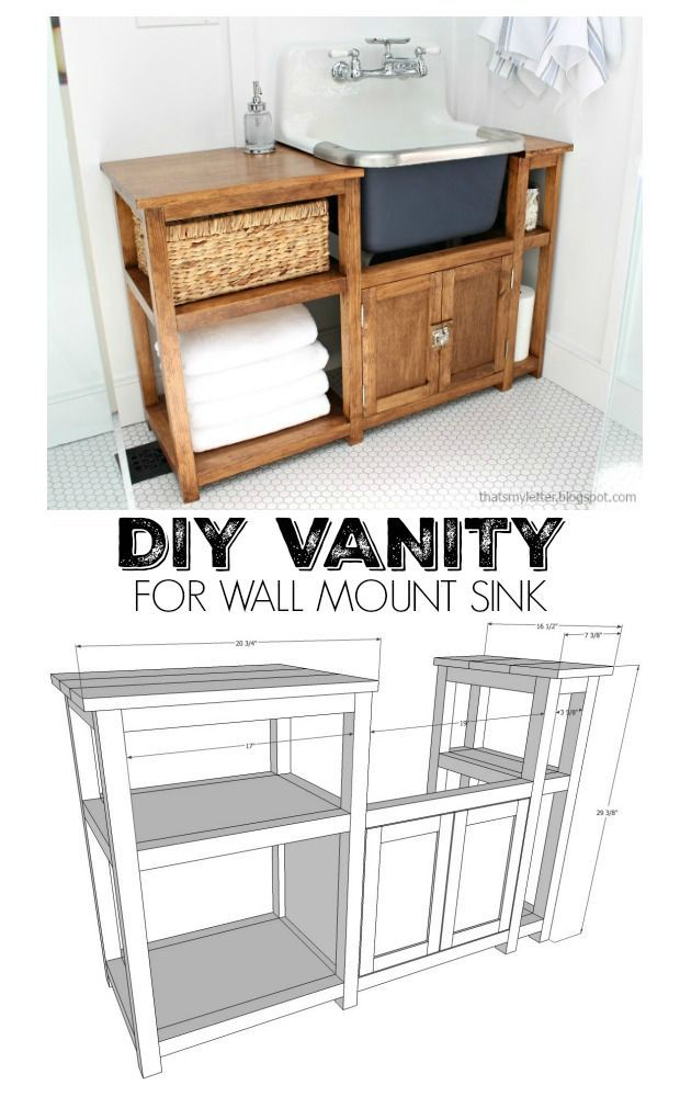Diy vanity for wall mount sink free plans free - Bathroom vanity plans woodworking ...