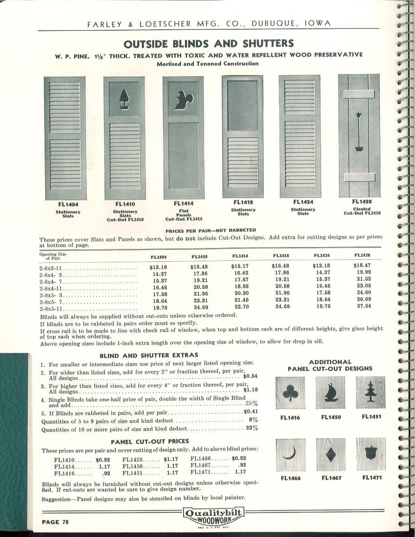 Farley Window Qualitybilt Woodwork Price Book No 9 Farley Loetscher Mfg