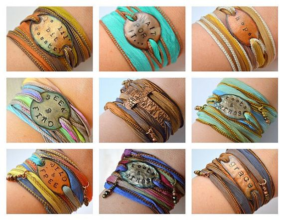 Design Your Own Boho Silk Wrap Bracelet Custom Quote