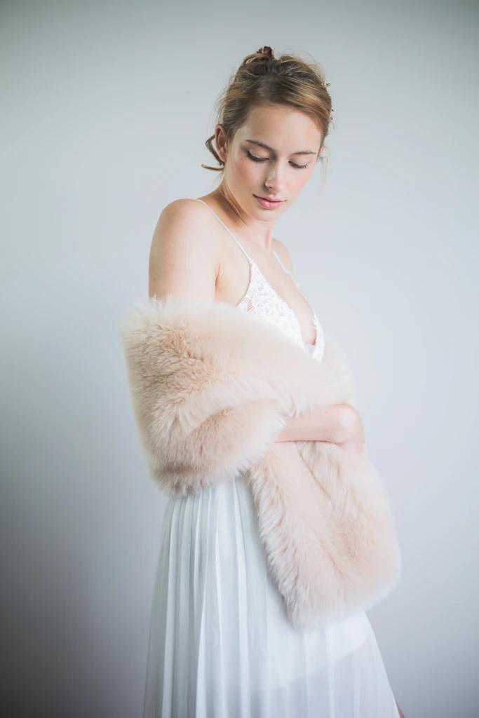 Blush / Beige / Nude / Light Brown Faux fur bridal wrap