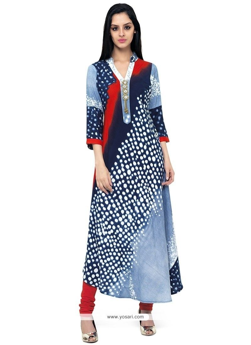 4ed83a8ba3 Peppy Print Work Party Wear Kurti Model  YOKU911
