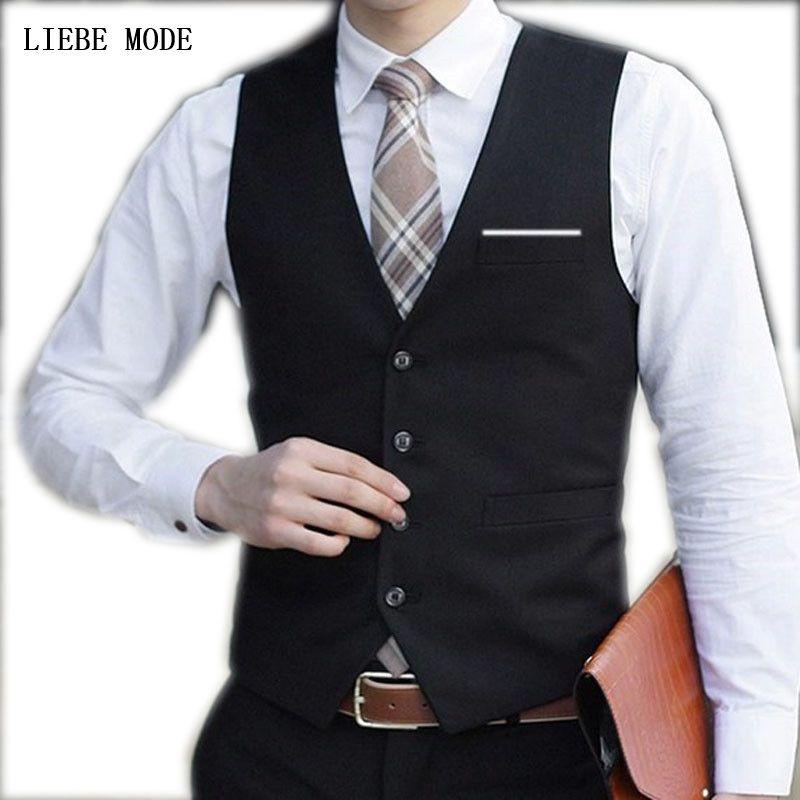 08f7ce0bfa0 Mens Cotton Slim Fit Suit Vest Black Blue Dress Vests For Men Fashion  Waistcoat Formal Tuxedo Vest Sleeveless Jacket 3XL 4XL 5XL