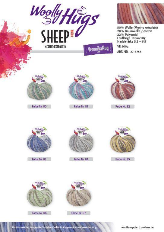50g Nadelstärke 5,5-6,5 Veronika Hug Woolly Hugs SHEEP Strickgarn 110m