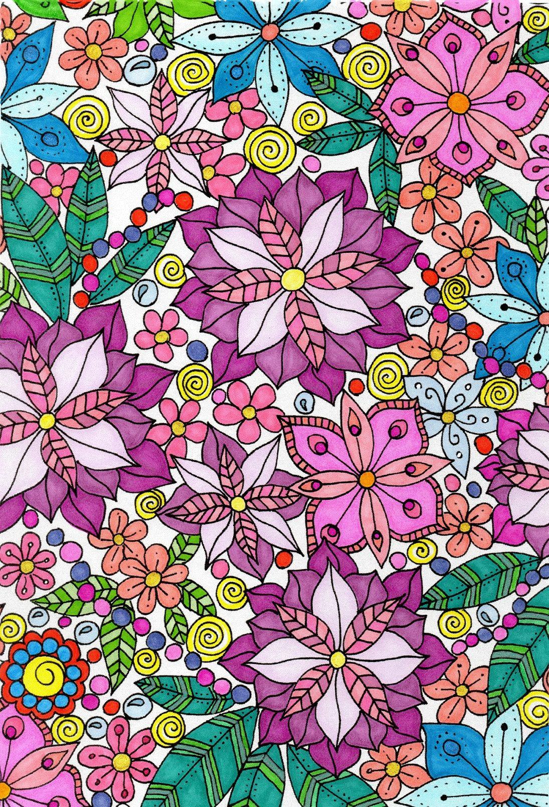 Zendoodle coloring enchanting gardens - Original Drawing From Zendoodle Coloring By Nikolett Corley