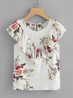 Photo of Floral Print Ruffle Top | SHEIN