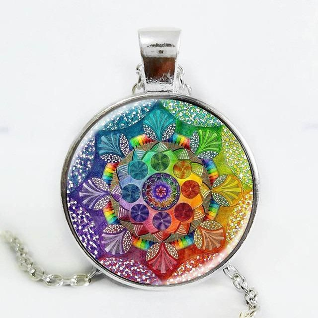 Handmade Rainbow Mandala Sacred Geometry Necklace