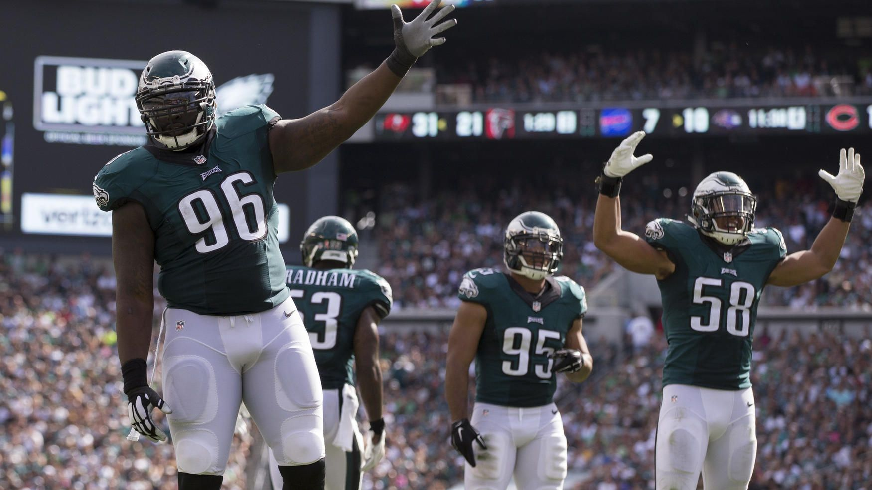7045c3739 Bennie Logan  96 and Jordan Hicks  58 of the Philadelphia Eagles ask the  crowd to get loud in the fourth quarter against the Cleveland Browns at  Lincoln ...