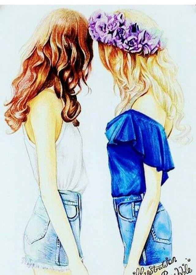 Картинки две подружки для срисовки
