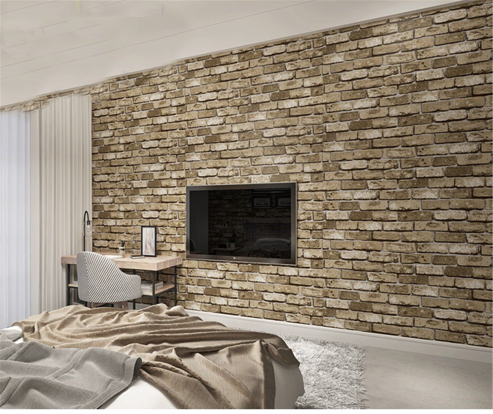 Modern Vintage Brick Textured Wallpaper For Walls Decor